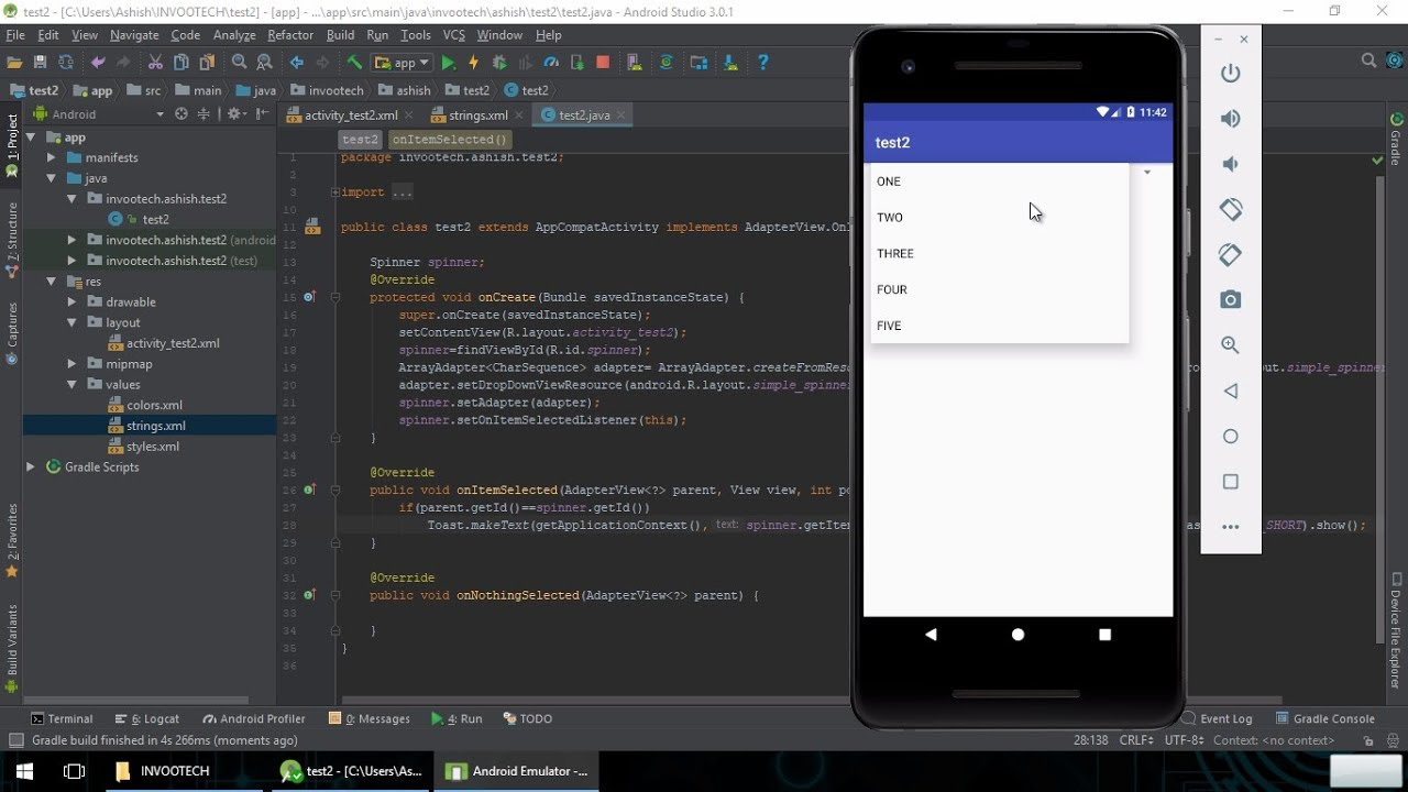 spinner setadapter start android studio